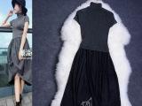 2014秋装新款欧美女装上半身针织修身撞色连衣裙背心裙连衣裙