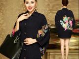 伊曼丝绸服饰真丝皱褶印花民族风蝙蝠袖上衣妈妈装开衫外套批发