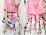 2015夏季新款小香风女装两件套连衣裙中长款套裙短袖印花裙套装女