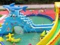 户外二手支架游泳池大型水上乐园充气城堡水滑梯鲸鱼岛水上冲关