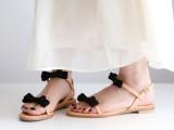 跑量款韩版小清新简单甜美蝴蝶结一字带真皮平底鞋女式罗马凉鞋