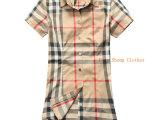 14新款英伦B家 修身女士短袖衬衣  分解格子棉质女装衬衫 A6
