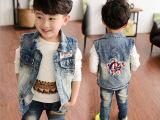 2015新款童装牛仔马甲 春季韩版外套男童中大童时尚上衣 一件代