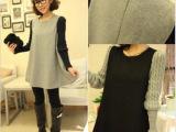 2013秋冬季韩版超美款 毛线袖拼接呢子娃娃裙摆连衣裙上衣