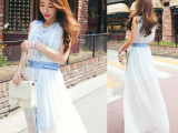 2015夏韩版雪纺单排扣透明假两件波西米亚沙滩裙长裙连衣裙背心裙