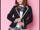黑白格子贵族学院风*黑色格子长袖学生服学生装班服校服演出服