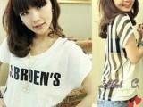 2013欧美雪纺性感后背透明竖条字母女装圆领短袖T恤