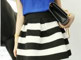 2015新款时尚韩版女装 条纹拼接提花拉链高腰半身裙短裙 批发
