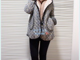 冬季新款外贸韩版碎花小棉袄带帽加厚保暖中长款棉麻女外套