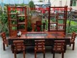 达茂老船木家具茶桌椅组合实木茶台茶艺桌功夫小茶几古沉船木