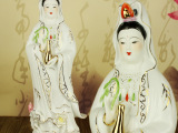潮州珍艺12寸-16寸观世音菩萨像陶瓷摆件站莲观音佛像手工工艺品