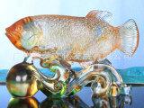 古法烧制琉璃金龙鱼旺财 琉璃工艺品定制