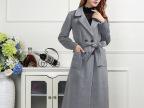 欧洲站2015秋冬新品女式大衣修身翻领双排扣外套中长款羊毛外套女