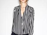 ZA*RA  欧美新款女装批发 V领性感竖条纹印花长袖雪纺衬衣