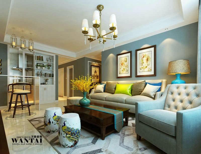 济宁翠都国际二期102平美式田园风格装修设计