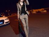 薇茗语 2015秋季新款韩版休闲职业格子修身小西装套装女 气质款