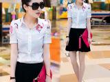 夏季新款衬衫女雪纺衫拼接碎花短款女式衬衣修身韩版短袖上衣