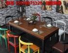 厂家直销美式铁艺实木餐桌 简约复古原木酒吧咖啡厅奶茶桌椅组合