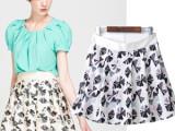 2014  专柜款夏装新款女式印花半身裙 短裙