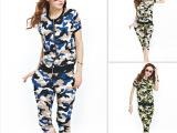 韩国代购2014春夏新款迷彩短袖半袖上衣+哈伦裤洋气套装潮女