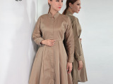 欧美风长款女式外套立领修身时尚拉链大衣大码女装秋装女士风衣潮