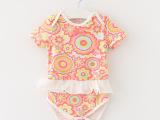 女婴儿碎花爬服短袖T恤三角爬裙2015婴儿三角爬服网纱花边连体衣