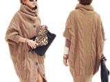 外贸货源2014 日韩女装 粗麻花棒高领蝙蝠袖长款毛衣外套 批发