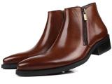 高帮尖头男士皮靴英伦风格真皮皮鞋男高帮男鞋潮流短靴牛皮靴37码