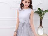 厂家直销2014夏季新款女装 韩版网纱百褶连衣裙 中长款打底裙