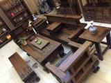 老船木博古架中式复古架子多宝阁实木屏风隔断古董架
