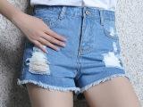 2015夏装新款牛仔短裤女修身破洞热裤韩版显瘦女士裤子 批