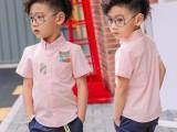 韩版新款夏款男童衬衣纯棉 拼色衬衫