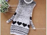 新款秋冬女装韩版修身 马海毛卡通桃心款包臀打底圆领针织衫毛衣