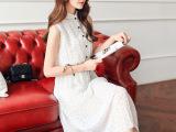2015夏装新款可爱点点雪纺连衣裙韩版无袖中长款连衣裙