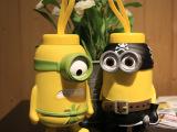 创意大眼萌海盗小黄人不锈钢保温水杯 3D立体小黄人水壶 创意礼品