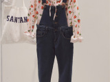 韩国东大门女装批发秋季学院风单排扣修身显瘦牛仔背带裤女 H17
