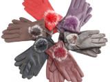 批发秋冬女士新款全PU皮手套可爱兔毛球保暖户外机车加绒保暖手套