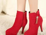 2014冬季性感防水台婚靴红色短靴水钻高跟真皮马丁靴细跟女靴