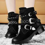 2013款真皮短靴马丁靴 铆钉中跟平底女靴子 圆头女鞋厂家直销清货