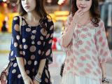 2014新款夏装上衣 中长款韩版宽松大码七分袖圆点泡泡袖雪纺衫女