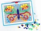 积木玩具 蘑菇钉插珠拼图玩具 智力拼插珠 平面拼板 8032批发