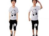 2014夏季新款 儿童韩版纯棉卡通熊猫短袖+中裤男童儿童套装批发