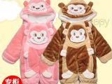 宝宝冬季加厚加绒连体衣爬服 婴儿棉服连身衣幼儿抱衣外出服批发