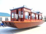 供应8米豪华画舫船电动玻璃钢画舫仿古木船