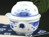 厂家直销 分销代发 陶瓷旅行茶具玲珑杯 青花瓷快客杯 一壶一杯