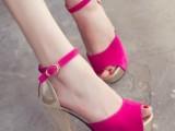 2014夏新款OL欧美韩版拼色夜店高跟鞋鱼嘴防水台粗跟女凉鞋子潮