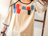 日系森女彩色拼布蕾丝边文艺范麻棉喇叭袖宽松上衣秋长袖t恤女