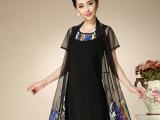 一件代发 2015夏季薄款开衫 中老年雪纺大码服装女装 连衣裙套