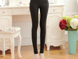2014春季新款修身弹力显瘦小脚裤 蕾丝拉链女外穿九分打底裤