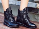 厂家直销女鞋新款欧洲站韩版女靴系带前系带真皮马丁靴一件代发
